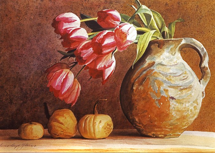 Tulips Greeting Card featuring the painting Tulips And Squash by David Lloyd Glover