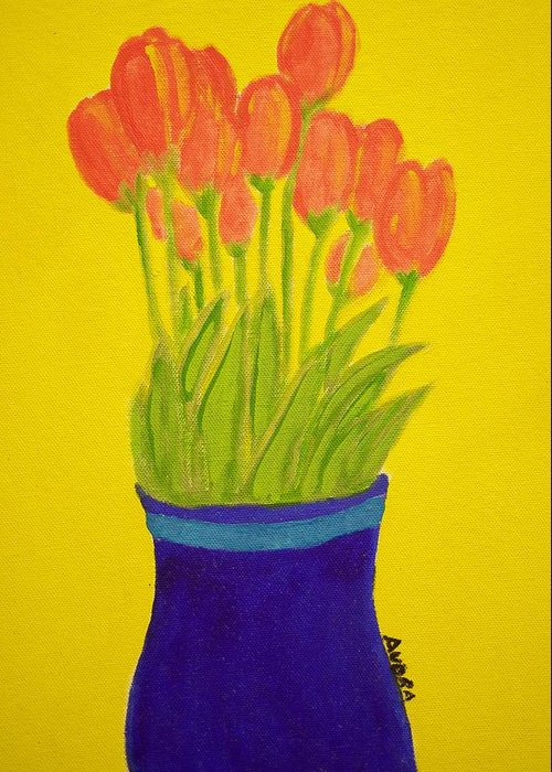 Portrait Greeting Card featuring the painting Tulips by Audra Smith