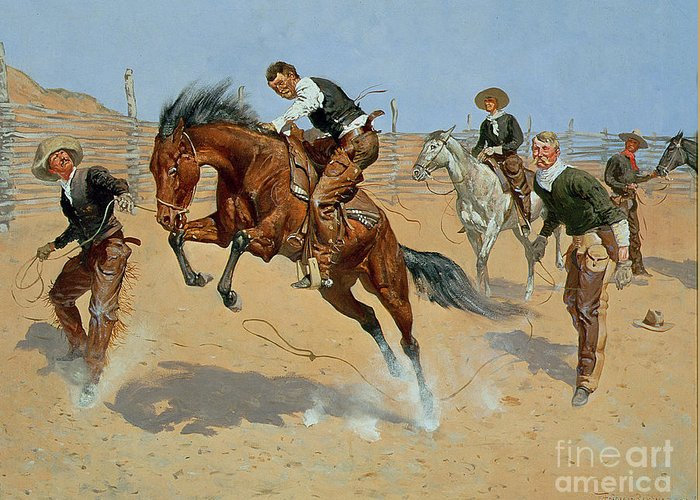 Turn Him Loose Greeting Card featuring the painting Turn Him Loose by Frederic Remington