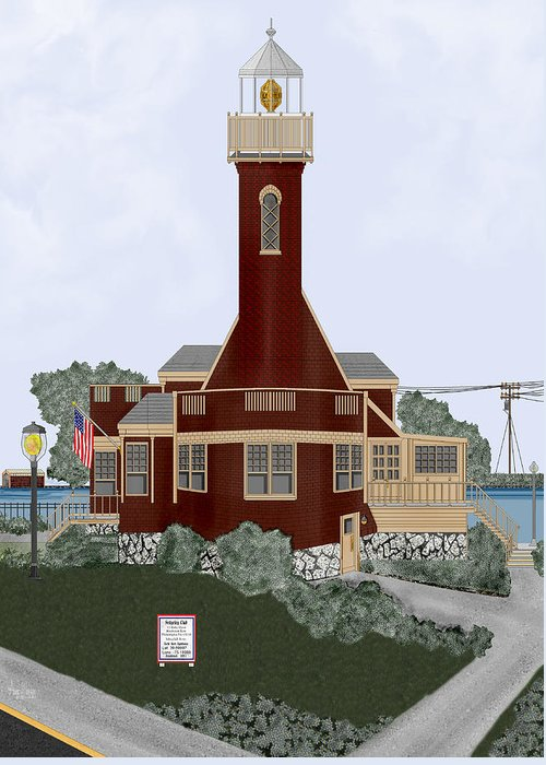 Lighthouse Greeting Card featuring the painting Turtle Rock Lighthouse by Anne Norskog