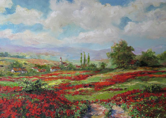 Tuscan Greeting Card featuring the painting Tuscan Landscape by Tigran Ghulyan
