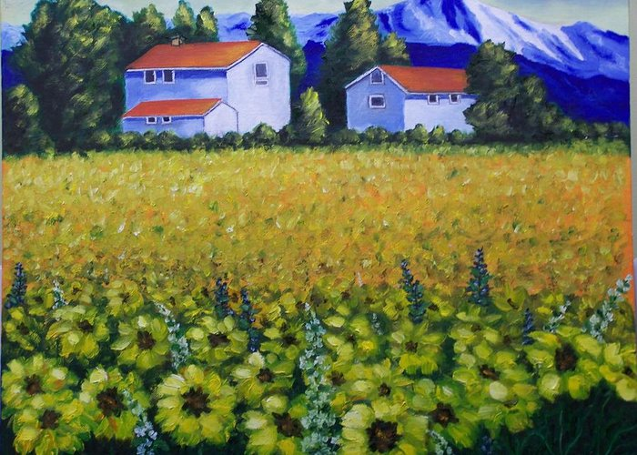 Landscape Greeting Card featuring the painting Tuscan Sunflowers by Charles Vaughn