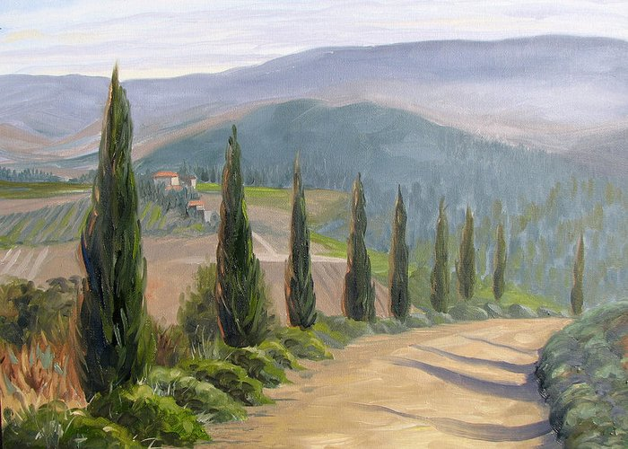Landscape Greeting Card featuring the painting Tuscany Road by Jay Johnson