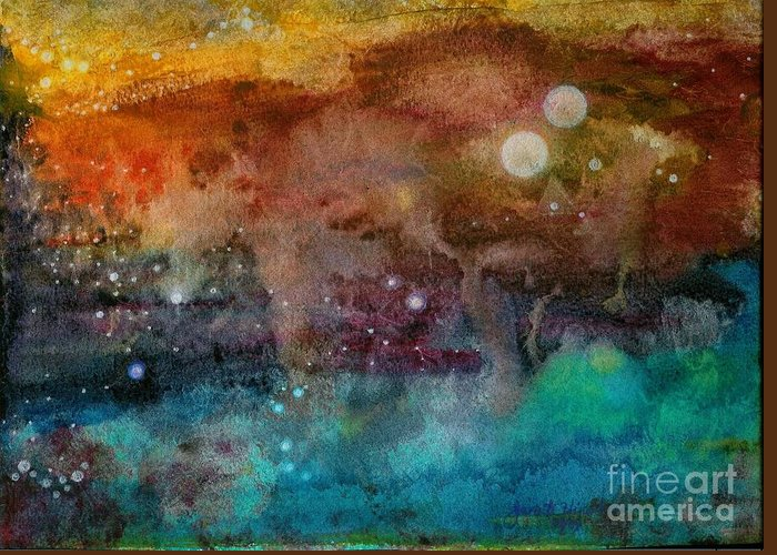 Atmospheric Greeting Card featuring the painting Twilight In The Cosmos by Janet Hinshaw