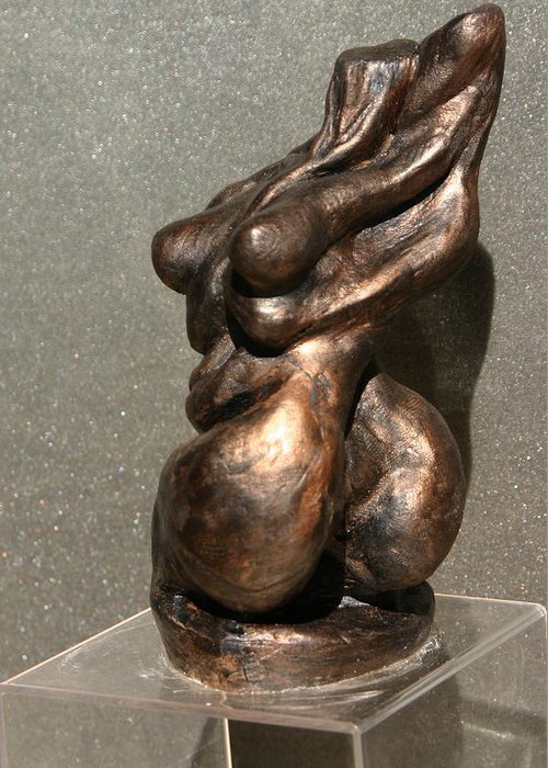 Bronze Sculpture Greeting Card featuring the sculpture Twist Of Fate The Dancer by Dan Earle