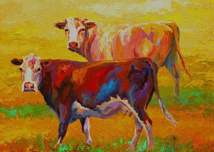 Cows Greeting Card featuring the painting Two Cows by Marion Rose
