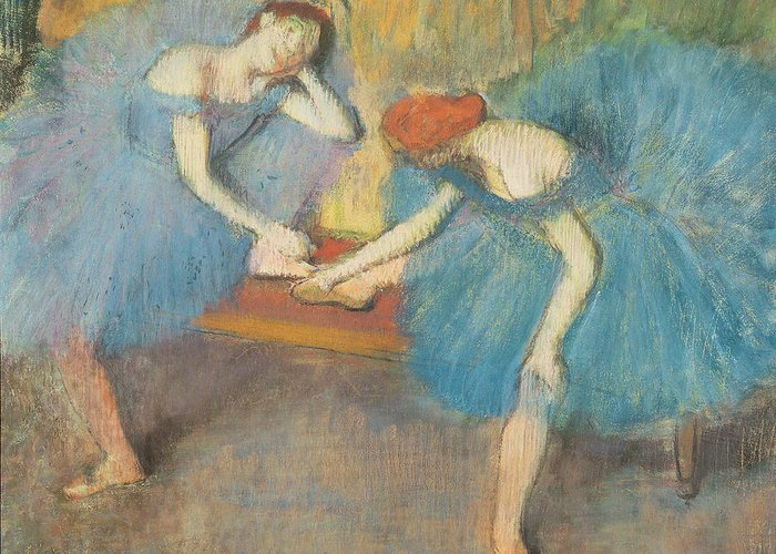 2 Greeting Card featuring the pastel Two Dancers At Rest by Edgar Degas