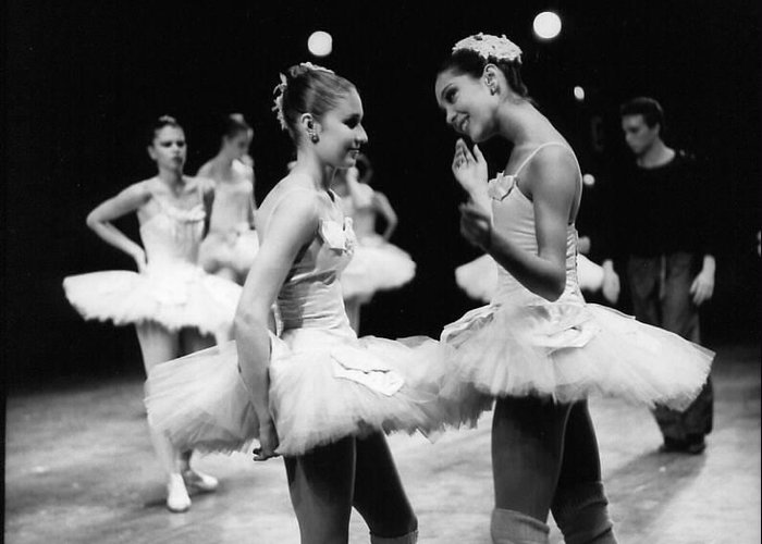 Ballet Ballerina Greeting Card featuring the photograph Two Dancers Chat by Jesse Gerstein