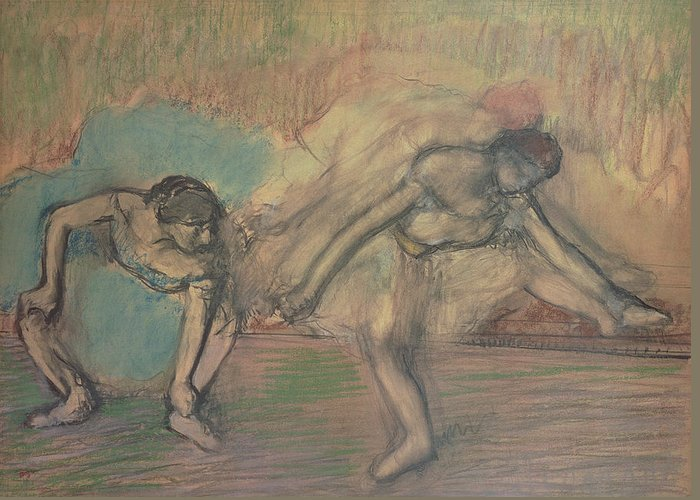 2 Greeting Card featuring the pastel Two Dancers Resting by Edgar Degas