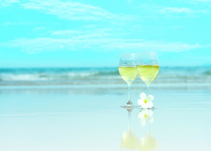 Frangipani Greeting Card featuring the photograph Two Glasses Of White Wine by MotHaiBaPhoto Prints