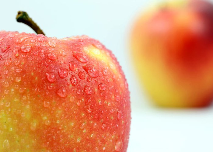 Apple Greeting Card featuring the photograph Two Red Gala Apples by Paul Ge