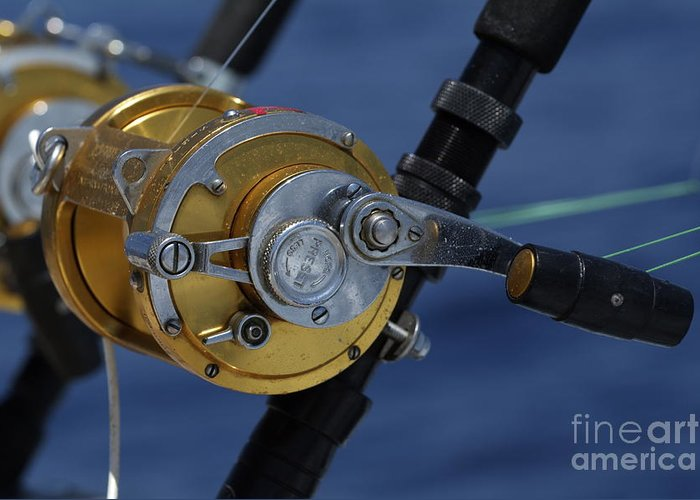 Boat Greeting Card featuring the photograph Two Rod And Reels On Board A Game Fishing Boat In The Mediterranean Sea by Sami Sarkis