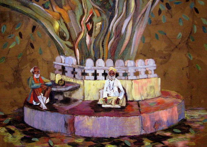Banyan Tree Greeting Card featuring the painting Under The Banyan Tree by Art Nomad Sandra Hansen