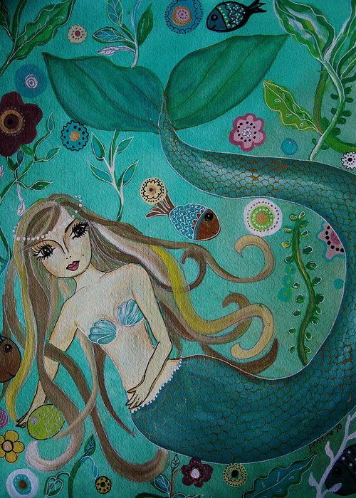 Mermaid Greeting Card featuring the painting Under The Sea by Pristine Cartera Turkus
