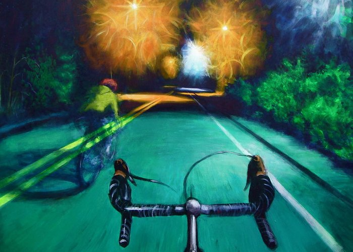 Bicycle Greeting Card featuring the painting Untitled by Chris Slaymaker