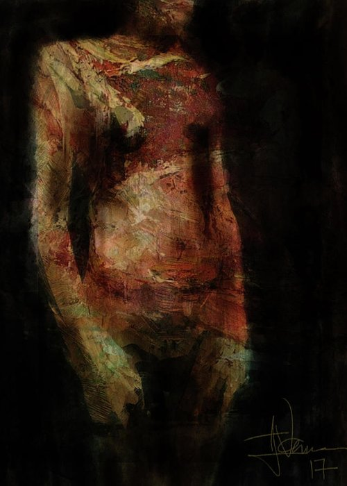 Figure Greeting Card featuring the digital art Untitled Figure by Jim Vance