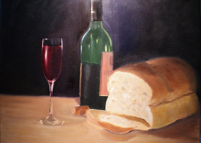 Wine Greeting Card featuring the painting Untitled by Toni Berry
