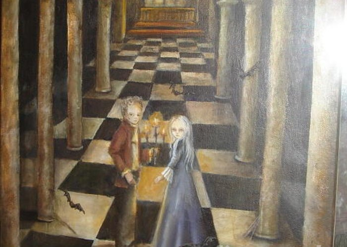 Gothic Greeting Card featuring the painting Untittle by Mya Fitzpatrick