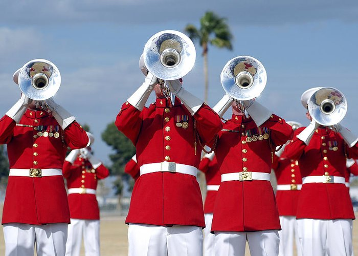 Drum And Bugle Corps Greeting Card featuring the photograph U.s. Marine Corps Drum And Bugle Corps by Stocktrek Images