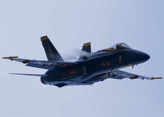 Us Navy Greeting Card featuring the photograph Us Navy Blue Angels High Speed Turn by Dustin K Ryan