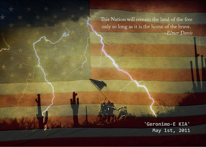 Lightning Greeting Card featuring the photograph Usa Patriotic Operation Geronimo-e Kia by James BO Insogna