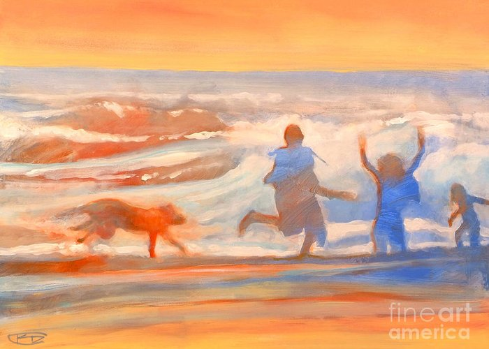 Kids Greeting Card featuring the painting Vacation Kids by Kip Decker