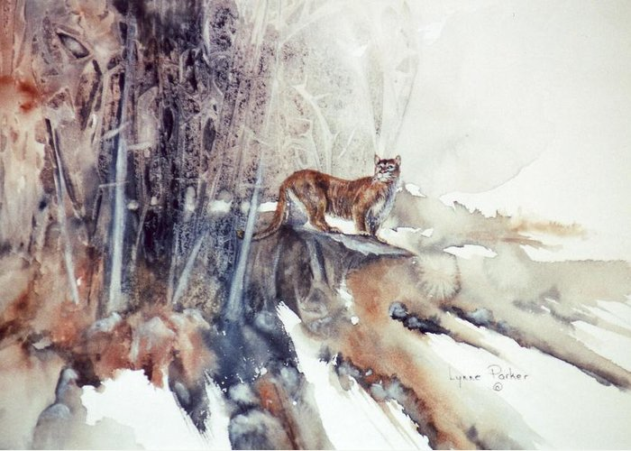 Cougar Greeting Card featuring the painting Vantage Point by Lynne Parker