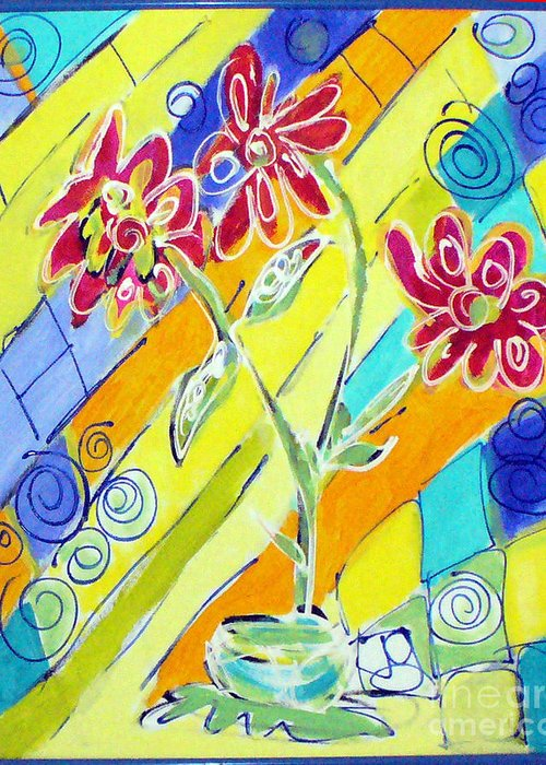Vase Greeting Card featuring the painting Vase by Joyce Goldin