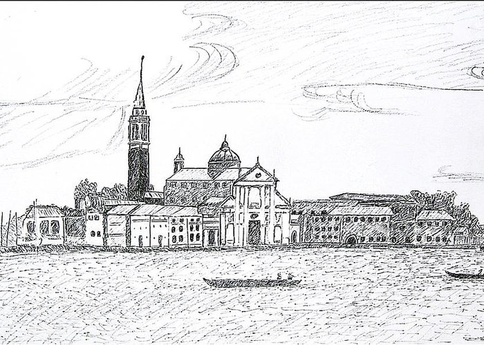 Venice Greeting Card featuring the drawing Venice Italy by Monica Engeler