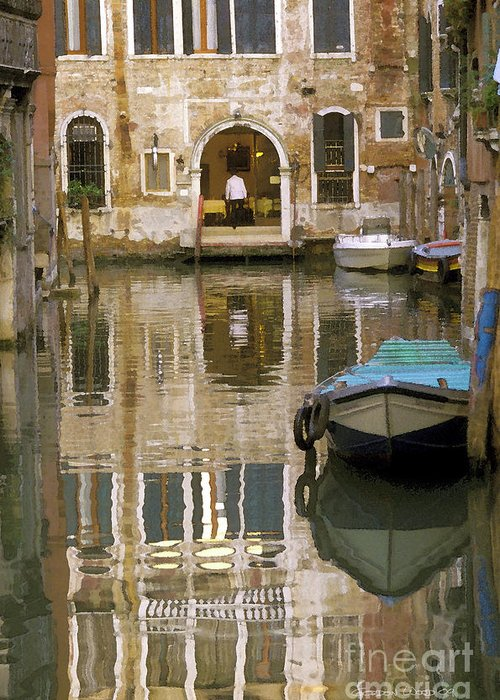 Boats Greeting Card featuring the photograph Venice Restaurant On A Canal by Gordon Wood