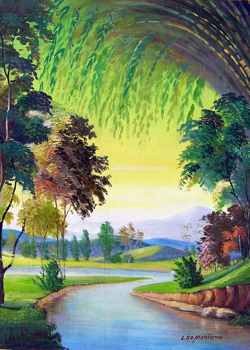 Landscape Greeting Card featuring the painting Verde Que Te Quero Verde by Leomariano artist BRASIL