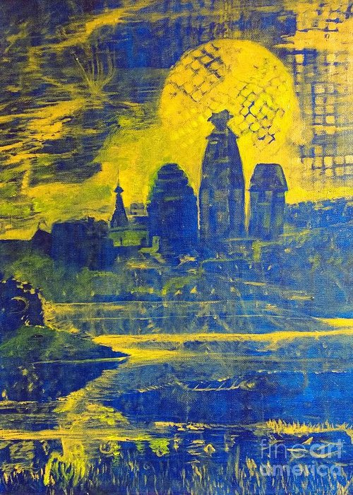 Vrindavan Greeting Card featuring the painting Vrindavan Spiritual Sky by Michael African Visions