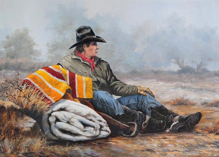 Bob Hallmark Greeting Card featuring the painting Waitin' On The Boss by Bob Hallmark