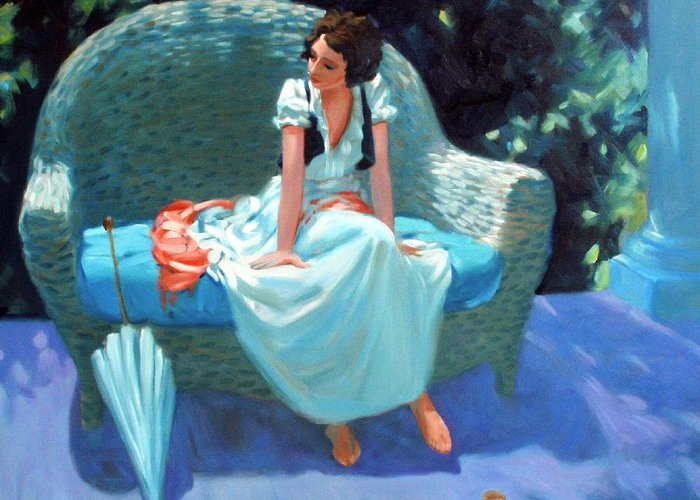 Girl Greeting Card featuring the painting Waiting For The Artist by Kevin Lawrence Leveque