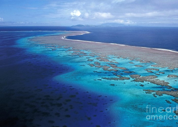 Aerial Greeting Card featuring the photograph Wakaya Island Aerial by Larry Dale Gordon - Printscapes