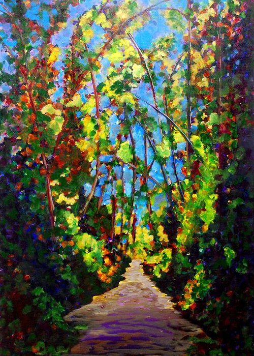 Forest Greeting Card featuring the painting Walk With Me by Faye Dietrich
