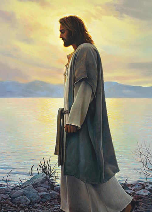Jesus Greeting Card featuring the painting Walk With Me by Greg Olsen