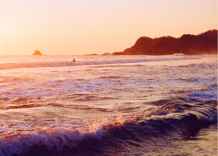 Surf Greeting Card featuring the photograph Warm Sunset In Zipolite 3 by Lyle Crump