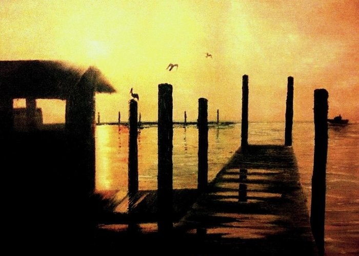 Rural Scenes Greeting Card featuring the painting Warm Waters by Travis Ragan