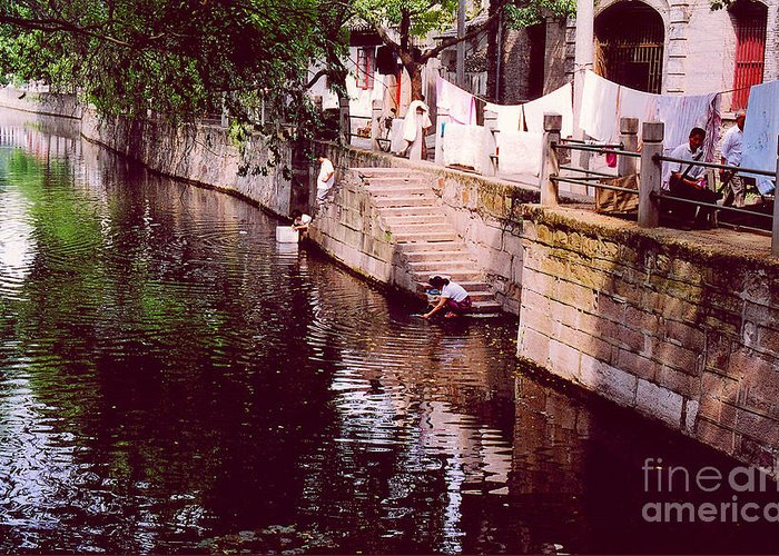 China Greeting Card featuring the photograph Wash Day by Andrea Simon