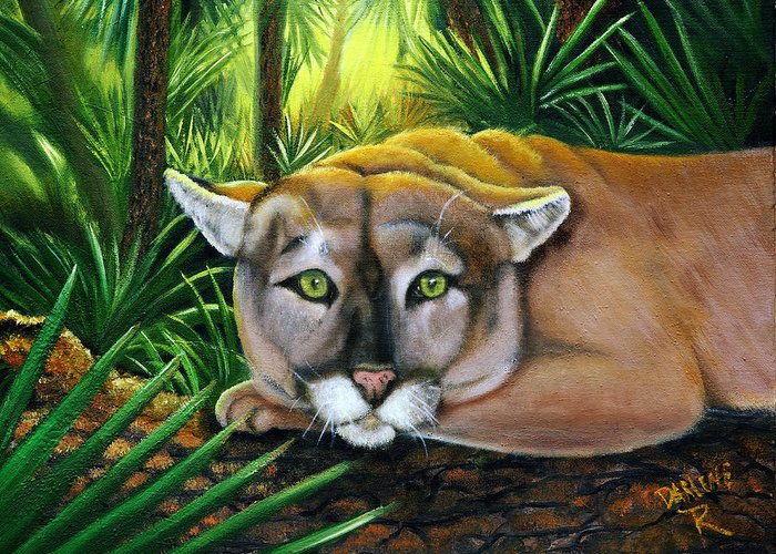 Panther Greeting Card featuring the painting Watching Florida Panther by Darlene Green