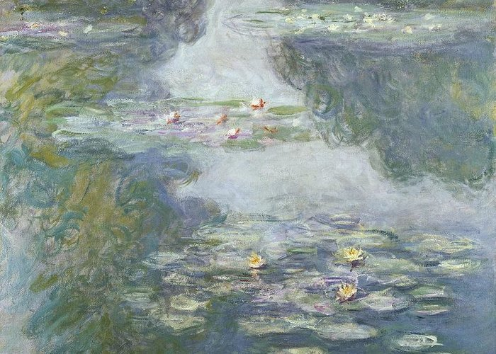 Pads Greeting Card featuring the painting Waterlilies by Claude Monet