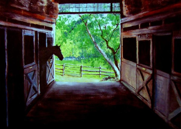 Horse Greeting Card featuring the painting Water's Edge Farm by Jack Skinner