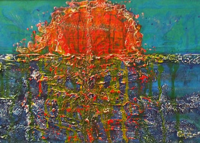 Non Objective. Abstract Greeting Card featuring the painting Weather Or Not by M J Venrick