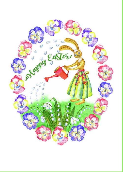 Lily Of The Valley Greeting Card featuring the digital art Welcome Spring.Rabbit and Flowers by Natalia Piacheva