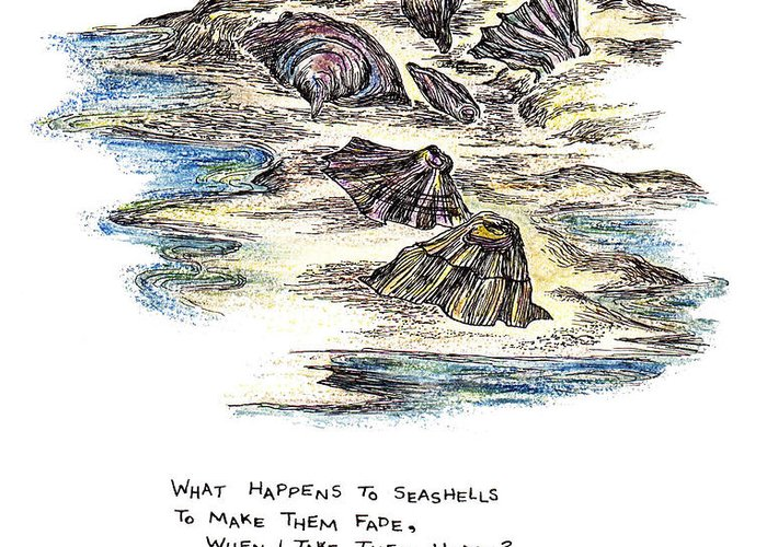 Seashells Greeting Card featuring the painting What Happens To Seashells by Lily Hymen