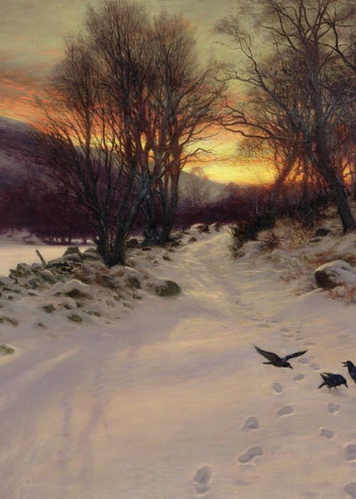 Winter Greeting Card featuring the painting When The West With Evening Glows by Joseph Farquharson