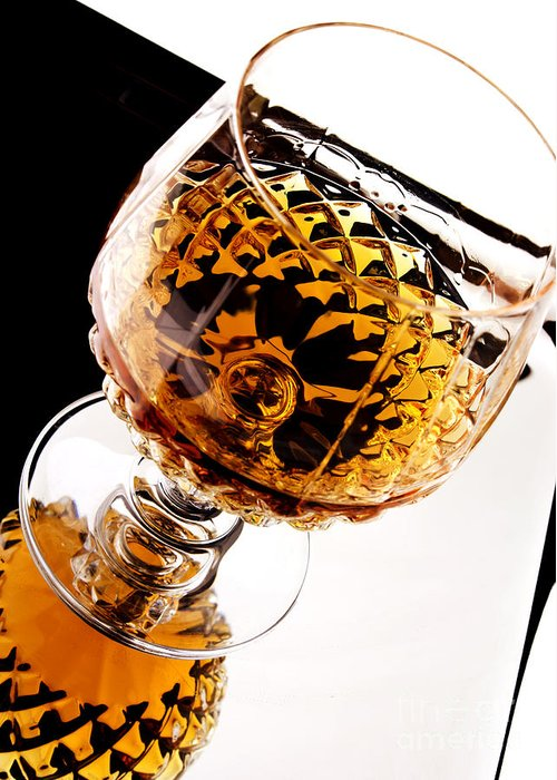 Whiskey Greeting Card featuring the photograph Whiskey In Glass by Blink Images