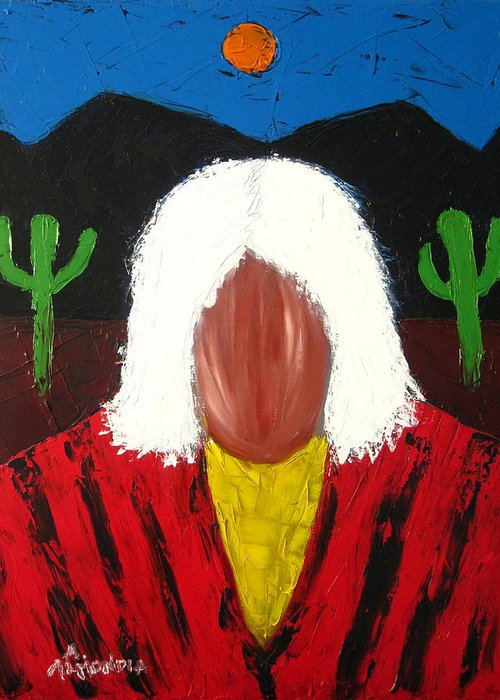 Native American Greeting Card featuring the painting White Hair Welcome by Albert Almondia