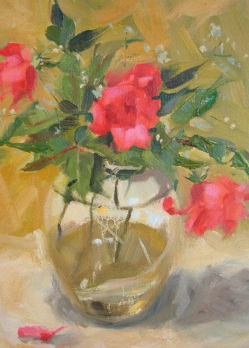 Wild Roses Greeting Card featuring the painting Wild Roses by Margaret Aycock